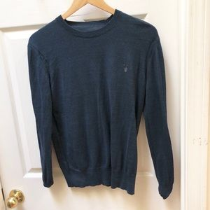 All saints navy blue crew classic sweater